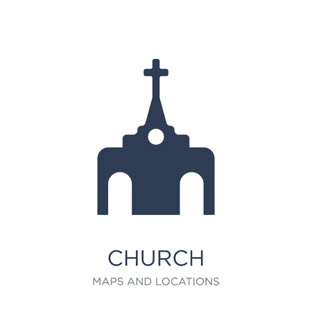 Church Icon icon. Trendy flat vector Church Icon icon on white background from Maps and Locations collection, vector illustration can be use for web and mobile, eps10 Banco de Imagens - 112279141