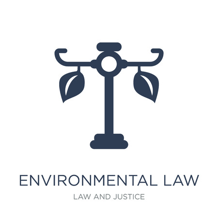 environmental law icon. Trendy flat vector environmental law icon on white background from law and justice collection, vector illustration can be use for web and mobile, eps10 Stock Vector - 112279176
