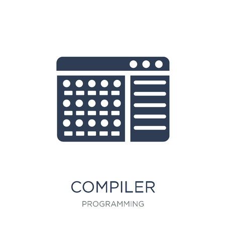 Compiler icon. Trendy flat vector Compiler icon on white background from Programming collection, vector illustration can be use for web and mobile, eps10 Imagens - 112279154