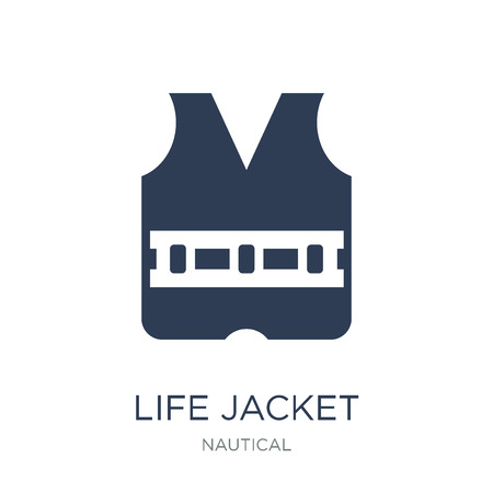 Life Jacket icon. Trendy flat vector Life Jacket icon on white background from Nautical collection, vector illustration can be use for web and mobile, eps10