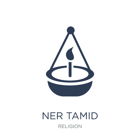 Ner Tamid icon. Trendy flat vector Ner Tamid icon on white background from Religion collection, vector illustration can be use for web and mobile, eps10 Stock Vector - 112280461