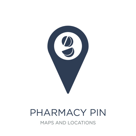 Pharmacy Pin icon. Trendy flat vector Pharmacy Pin icon on white background from Maps and Locations collection, vector illustration can be use for web and mobile, eps10
