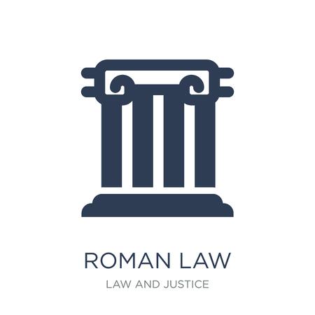 Ikone des römischen Rechts. Trendige flache Vektorikone des römischen Rechts auf weißem Hintergrund aus der Sammlung von Recht und Justiz, Vektorillustration kann für Web und Mobile verwendet werden, eps10 Vektorgrafik