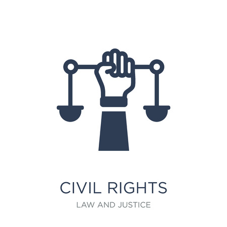 civil rights icon. Trendy flat vector civil rights icon on white background from law and justice collection, vector illustration can be use for web and mobile, eps10 Stock Illustratie