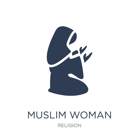 Moslimvrouw bidden pictogram. Trendy platte vector moslimvrouw bidden pictogram op witte achtergrond uit religie collectie, vectorillustratie kan worden gebruikt voor web en mobiel, eps10