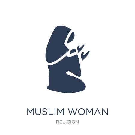 Muslim Woman Praying icon. Trendy flat vector Muslim Woman Praying icon on white background from Religion collection, vector illustration can be use for web and mobile, eps10 Çizim