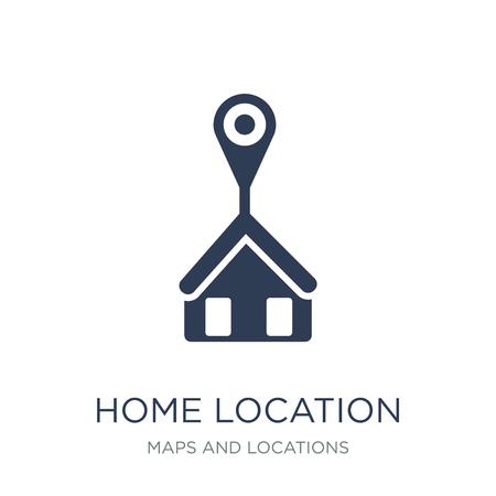 Symbol für den Heimatstandort. Trendiges flaches Vektor-Home Location-Symbol auf weißem Hintergrund aus der Karten- und Standortsammlung, Vektorillustration kann für Web und Mobile verwendet werden, eps10 Vektorgrafik