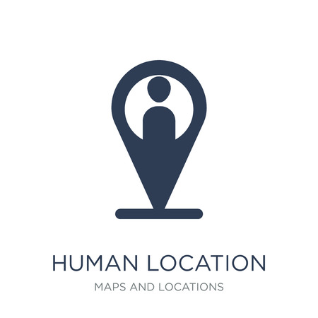 Human Location icon. Trendy flat vector Human Location icon on white background from Maps and Locations collection, vector illustration can be use for web and mobile, eps10