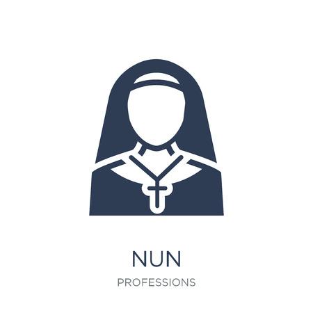 Ikona zakonnicy. Modny płaski wektor zakonnica ikona na białym tle z kolekcji zawodów, ilustracji wektorowych może być używany dla sieci web i mobile, eps10