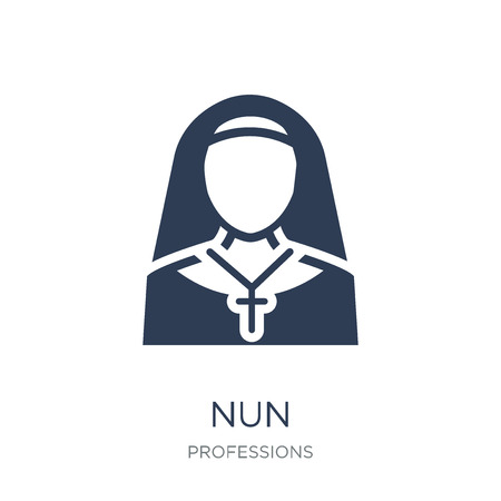 Nun icon. Trendy flat vector Nun icon on white background from Professions collection, vector illustration can be use for web and mobile, eps10 Çizim