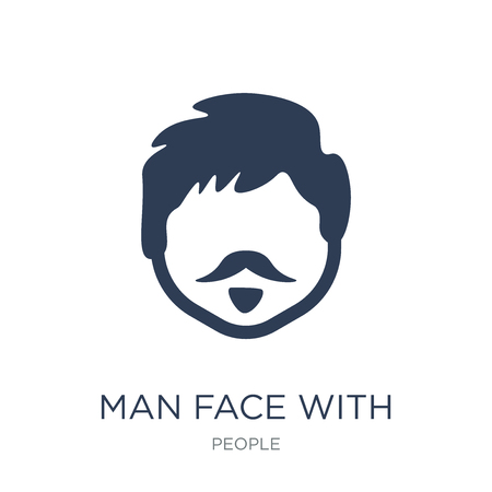 Man face with beard icon. Trendy flat vector Man face with beard icon on white background from People collection, vector illustration can be use for web and mobile, eps10 Banque d'images - 112280610
