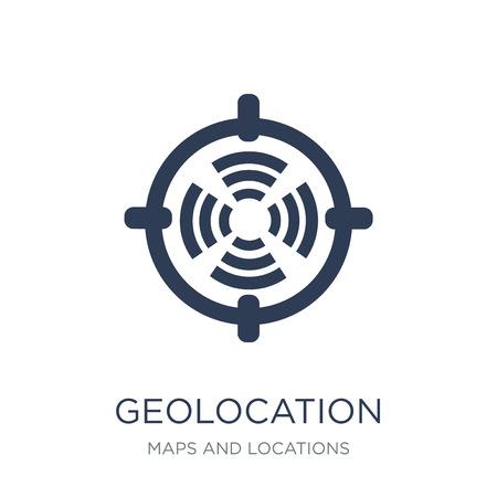 Geolocation-Symbol. Trendiges flaches Vektor-Geolocation-Symbol auf weißem Hintergrund aus der Sammlung von Karten und Standorten, Vektorillustration kann für Web und Mobile verwendet werden, eps10