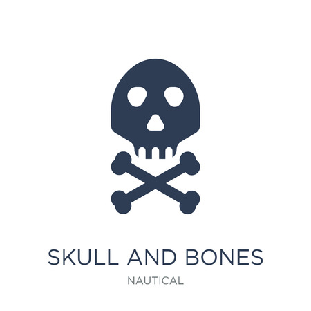 Skull and bones icon. Trendy flat vector Skull and bones icon on white background from Nautical collection, vector illustration can be use for web and mobile, eps10