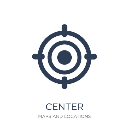 Center icon. Trendy flat vector Center icon on white background from Maps and Locations collection, vector illustration can be use for web and mobile, eps10 Illusztráció