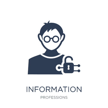 Information Security Analyst icon. Trendy flat vector Information Security Analyst icon on white background from Professions collection, vector illustration can be use for web and mobile, eps10