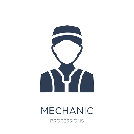 Mechanic icon. Trendy flat vector Mechanic icon on white background from Professions collection, vector illustration can be use for web and mobile, eps10 版權商用圖片 - 112280869