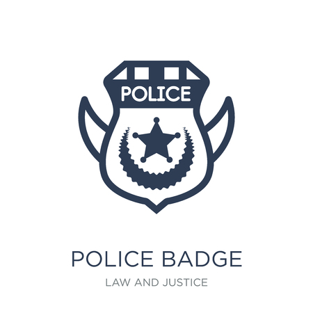 Police badge icon. Trendy flat vector Police badge icon on white background from law and justice collection, vector illustration can be use for web and mobile, eps10