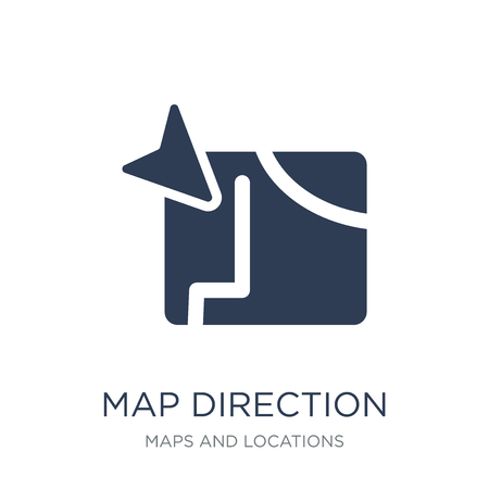 Map Direction icon. Trendy flat vector Map Direction icon on white background from Maps and Locations collection, vector illustration can be use for web and mobile, eps10