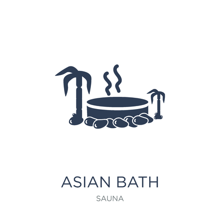 Asian bath icon. Trendy flat vector Asian bath icon on white background from sauna collection, vector illustration can be use for web and mobile, eps10