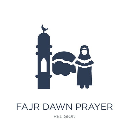 Fajr dawn Prayer icon. Trendy flat vector Fajr dawn Prayer icon on white background from Religion collection, vector illustration can be use for web and mobile, eps10
