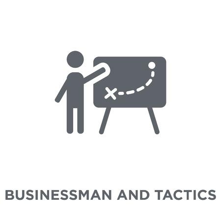 Geschäftsmann und Taktik-Symbol. Geschäftsmann und Taktik-Designkonzept aus der Produktivitätskollektion. Einfache Elementvektorillustration auf weißem Hintergrund. Vektorgrafik