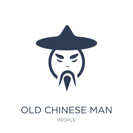 Old chinese man icon. Trendy flat vector Old chinese man icon on white background from People collection, vector illustration can be use for web and mobile, eps10