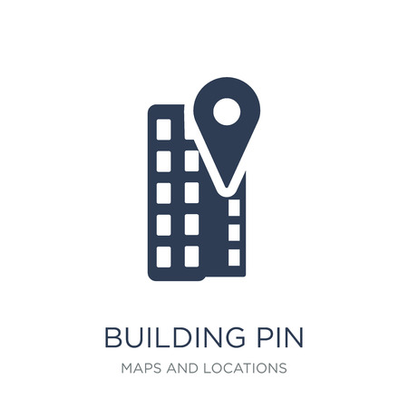 Building Pin icon. Trendy flat vector Building Pin icon on white background from Maps and Locations collection, vector illustration can be use for web and mobile, eps10