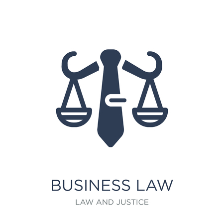 business law icon. Trendy flat vector business law icon on white background from law and justice collection, vector illustration can be use for web and mobile, eps10 Stock Vector - 112281028