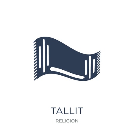 Tallit icon. Trendy flat vector Tallit icon on white background from Religion collection, vector illustration can be use for web and mobile, eps10 Stock Vector - 112318054
