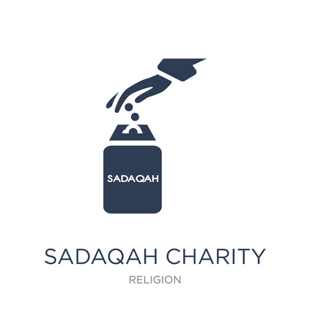 Sadaqah Charity icon. Trendy flat vector Sadaqah Charity icon on white background from Religion collection, vector illustration can be use for web and mobile, eps10