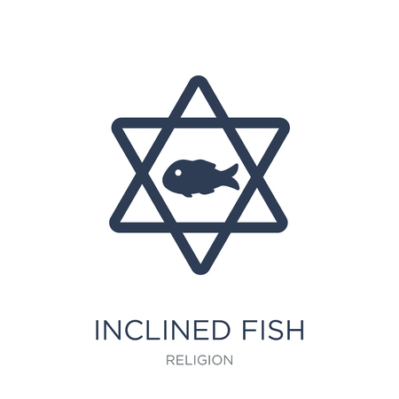 Inclined Fish icon. Trendy flat vector Inclined Fish icon on white background from Religion collection, vector illustration can be use for web and mobile, eps10