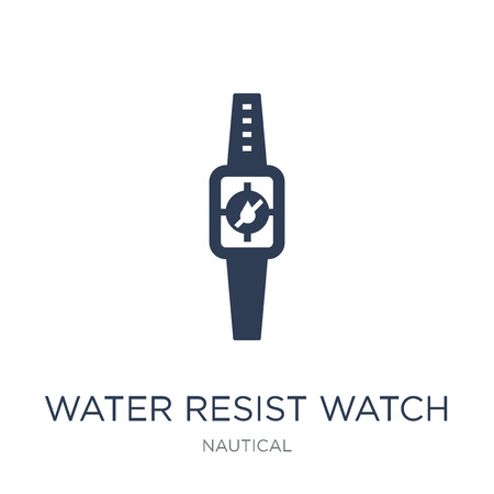 Water Resist Watch icon. Trendy flat vector Water Resist Watch icon on white background from Nautical collection, vector illustration can be use for web and mobile, eps10