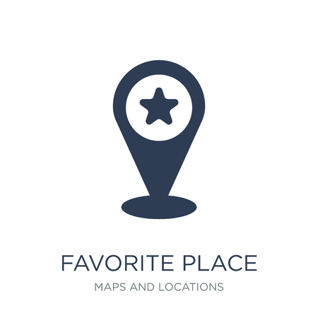 Favorite Place icon. Trendy flat vector Favorite Place icon on white background from Maps and Locations collection, vector illustration can be use for web and mobile, eps10  イラスト・ベクター素材