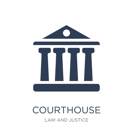 Courthouse icon. Trendy flat vector Courthouse icon on white background from law and justice collection, vector illustration can be use for web and mobile, eps10