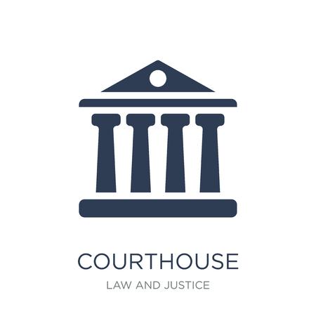 Icona del tribunale. Icona del tribunale piatto vettoriale su priorità bassa bianca da collezione di legge e giustizia, illustrazione vettoriale può essere utilizzato per il web e mobile, eps10