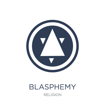 blasphemy icon. Trendy flat vector blasphemy icon on white background from Religion collection, vector illustration can be use for web and mobile, eps10
