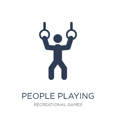 People playing Rings icon icon. Trendy flat vector People playing Rings icon on white background from Recreational games collection, vector illustration can be use for web and mobile, eps10 Banque d'images - 112318320