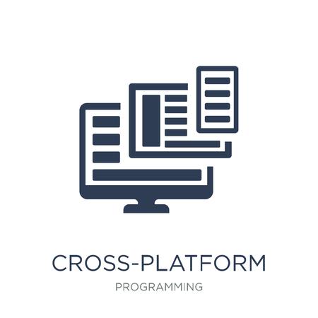 Icona multipiattaforma. Icona multipiattaforma piatto vettoriale su priorità bassa bianca da collezione di programmazione, illustrazione vettoriale può essere utilizzato per il web e mobile, eps10