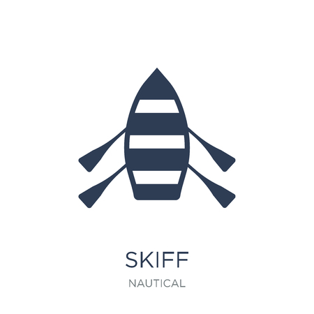 skiff icon. Trendy flat vector skiff icon on white background from Nautical collection, vector illustration can be use for web and mobile, eps10 Illustration