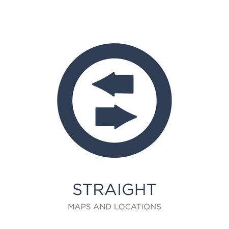 Straight icon. Trendy flat vector Straight icon on white background from Maps and Locations collection, vector illustration can be use for web and mobile, eps10 Ilustração