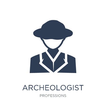 Icona di archeologo. Icona di archeologo piatto vettoriale su priorità bassa bianca da collezione di professioni, illustrazione vettoriale può essere utilizzato per il web e mobile, eps10