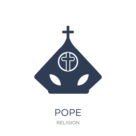 Pope icon. Trendy flat vector Pope icon on white background from Religion collection, vector illustration can be use for web and mobile, eps10