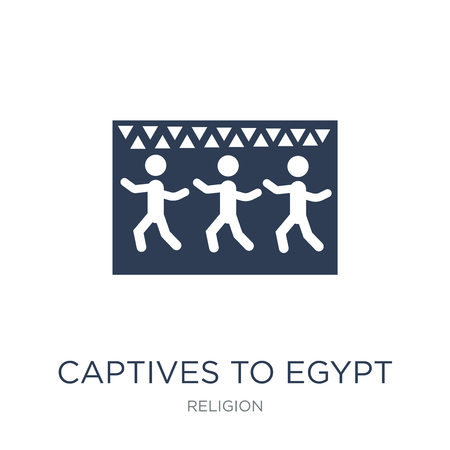 Captives to Egypt icon. Trendy flat vector Captives to Egypt icon on white background from Religion collection, vector illustration can be use for web and mobile, eps10