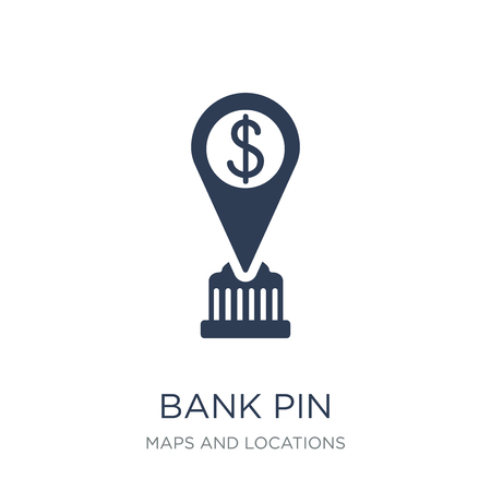 Bank Pin icon. Trendy flat vector Bank Pin icon on white background from Maps and Locations collection, vector illustration can be use for web and mobile, eps10 Banco de Imagens - 111309423