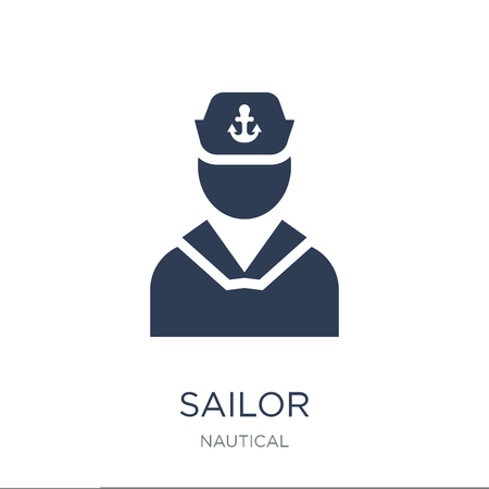 Sailor icon. Trendy flat vector Sailor icon on white background from Nautical collection, vector illustration can be use for web and mobile, eps10 Ilustracja