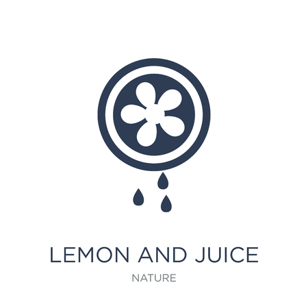 lemon and juice drop out icon. Trendy flat vector lemon and juice drop out icon on white background from nature collection, vector illustration can be use for web and mobile, eps10