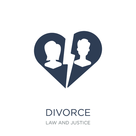 Divorce icon. Trendy flat vector Divorce icon on white background from law and justice collection, vector illustration can be use for web and mobile, eps10 Stock Vector - 111309437