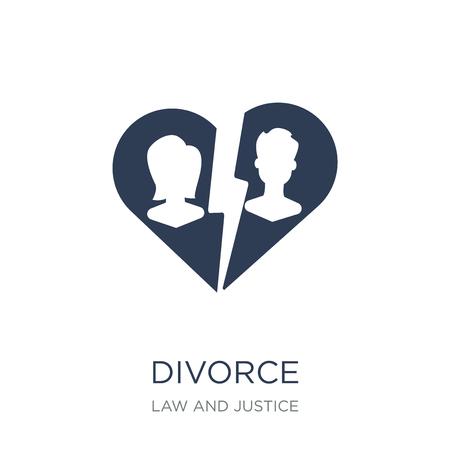 Scheidung-Symbol. Trendiges flaches Vektor-Scheidungssymbol auf weißem Hintergrund aus der Sammlung von Recht und Justiz, Vektorillustration kann für Web und Mobile verwendet werden, eps10