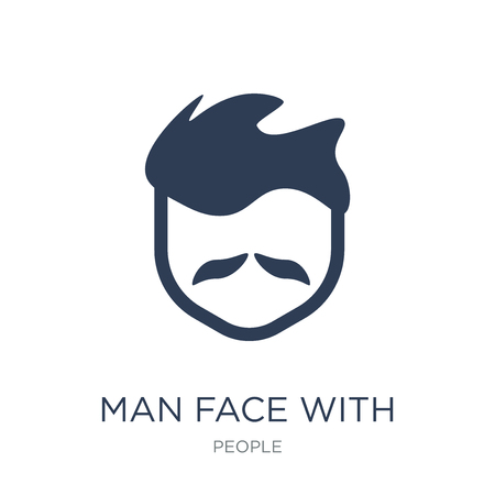 Man face with moustache icon. Trendy flat vector Man face with moustache icon on white background from People collection, vector illustration can be use for web and mobile, eps10