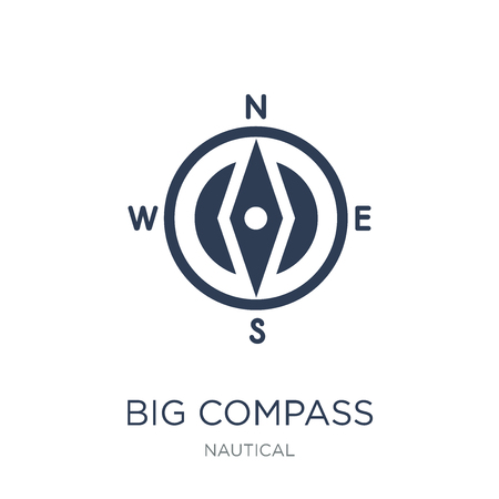 Big Compass icon. Trendy flat vector Big Compass icon on white background from Nautical collection, vector illustration can be use for web and mobile, eps10